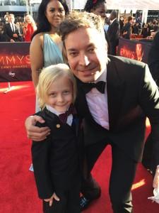 Christian Ganiere and Jimmy Fallon Primetime Emmy awards red carpet